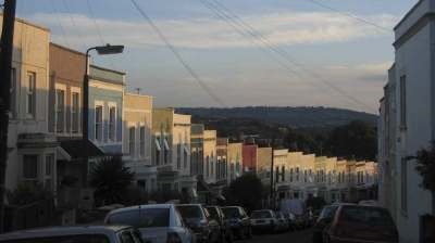 Färgglada hus i Bristol