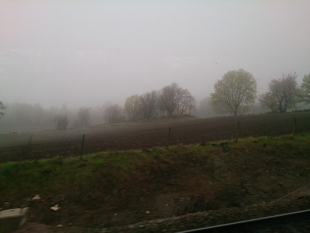 dimma utanför tågfönstret